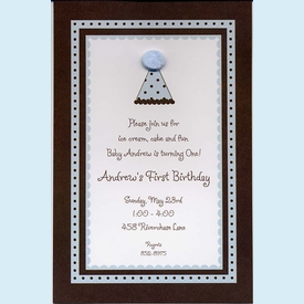 Party Hat with Blue Pom Pom Invitation - click to enlarge