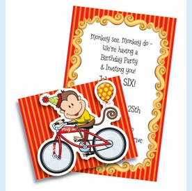 Party On Monkey Folded Invitation - click to enlarge