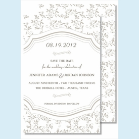 Pewter Sweet Pea Large Flat Invitation - click to enlarge