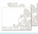 Pewter Wood Cut Floral Small Flat Cards