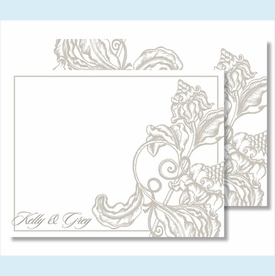 Pewter Wood Cut Floral Small Flat Cards - click to enlarge