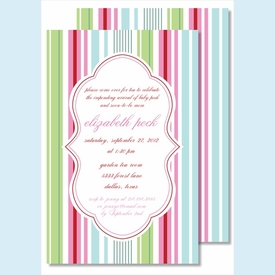 Pink/Blue/Green Stripes Large Flat Invitation - click to enlarge