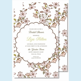 Pink Cherry Blossoms Large Flat Invitation - click to enlarge