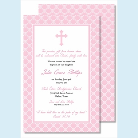 Pink Cross with Diamond Pattern Large Flat Invitation - click to enlarge