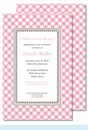 Pink Gingham Large Flat Invitation