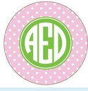 Pink/Green Dot Personalized Mirror