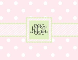 Pink/Green Dots & Gingham Notes