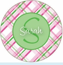 Pink/Green Plaid Personalized Magnet