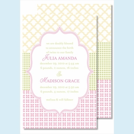 Pink/Green/Yellow Crazy Quilt Large Flat Invitation - click to enlarge