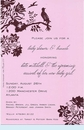 Pink Perched Bird Invitation