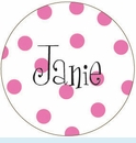Pink Polka Dot Personalized Magnet