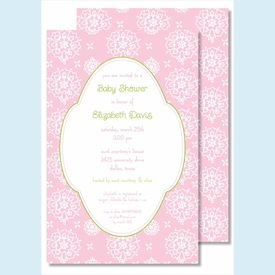 Pink Sweet Floral Large Flat Invitation - click to enlarge
