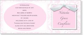 Pink Toile & Ribbon Square Invitation