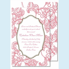 Pink Wood Cut Floral Large Flat Invitation - click to enlarge