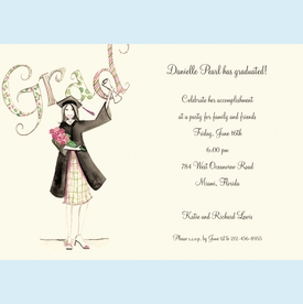 Plaid Grad Girl Invitation - click to enlarge