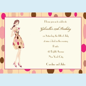 Polka Dot Martini Girl Invitation - click to enlarge