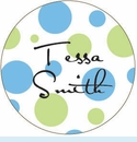 Powder/Green Spots Personalized Magnet