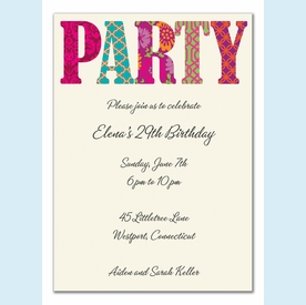 Pretty Patterned Party Invitation - click to enlarge