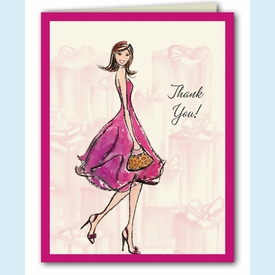 Pretty Pink Bridal Shower Thank You Notes - click to enlarge