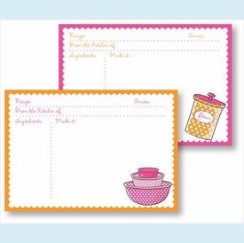 Recipe Box - Pink Bowls & Orange Canister - click to enlarge
