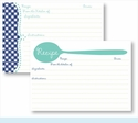 Recipe Box - Turquoise Spoon & Navy Gingham