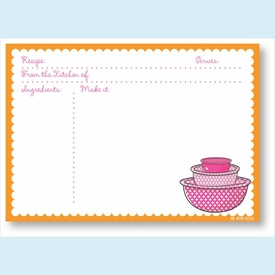 Recipe Cards - Bowls w/ Orange Scalloped Border - click to enlarge