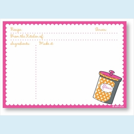 Recipe Cards - Canister w/ Pink Scalloped Border - click to enlarge