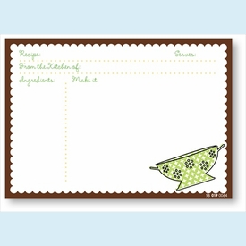 Recipe Cards - Colander w/ Brown Scalloped Border - click to enlarge