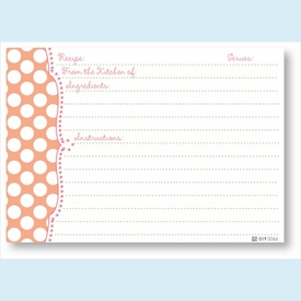 Recipe Cards - Coral Dots Scalloped Edge - click to enlarge