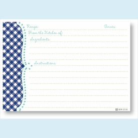 Recipe Cards - Navy Gingham Scalloped Edge - click to enlarge