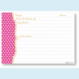 Recipe Cards - Pink Dots Scalloped Edge - click to enlarge