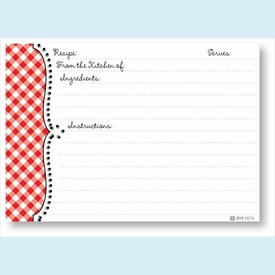 Recipe Cards - Red Gingham Scalloped Edge - click to enlarge