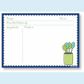 Recipe Cards - Spoons w/ Navy Scalloped Border - click to enlarge