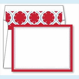 Red Border Small Flat Cards w/Coordinating Liner - click to enlarge