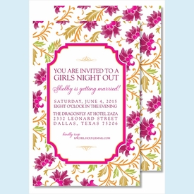 Red/Fuchsia Botanical Large Flat Invitation - click to enlarge
