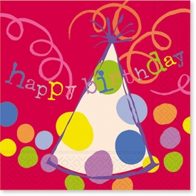 Red Happy Birthday Hats Lunch Napkins - click to enlarge