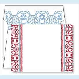 Red Oriental Border Small Flat Cards w/Coordinating Liner - click to enlarge