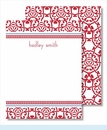 Red Oriental w/ Blue Line/Red Chain Small Flat Cards