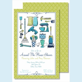 Round the House Icons Large Flat Invitation - click to enlarge