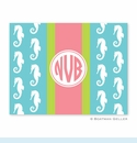 Seahorse Ribbon in Teal Folded Notes (set/25)