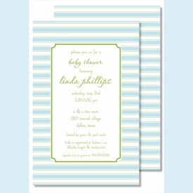 Simple Blue/Lime Stripes Large Flat Invitation - click to enlarge