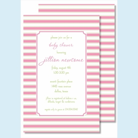 Simple Pink/Lime Stripes Large Flat Invitation - click to enlarge