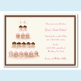 Sixteen Cupcakes Invitation - click to enlarge