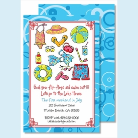 Splish Splash Large Flat Invitation - click to enlarge