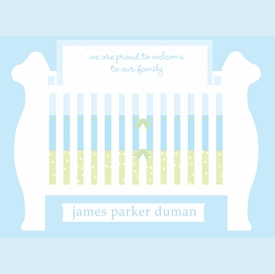 Starry Blue Baby Crib Invitation - click to enlarge