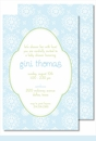 Sweet Blue Floral Large Flat Invitation