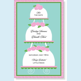 Tiered Marzipan Cakes Invitation - click to enlarge