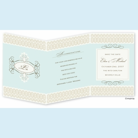 Tiffany Swirl Monogram Trifold Invitation - click to enlarge