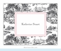 Toile Black with Pink Check Folded Notes (set/25)