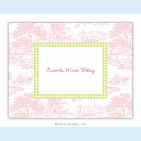 Toile Pink with Lime Check Folded Notes (set/25) - click to enlarge